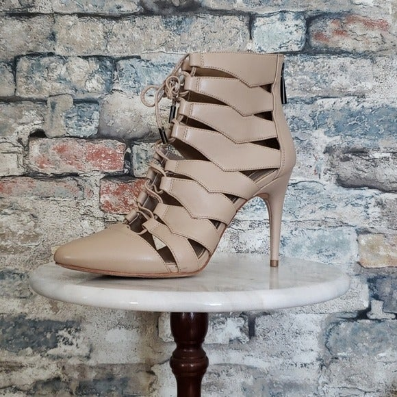 Ma-Bren Leather Lace Up Caged Heels 8