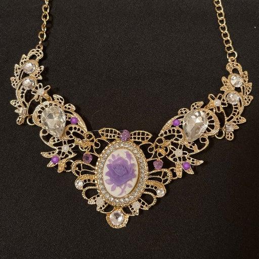 Victorian Style Purple Rose Cameo/ Crystal Choker
