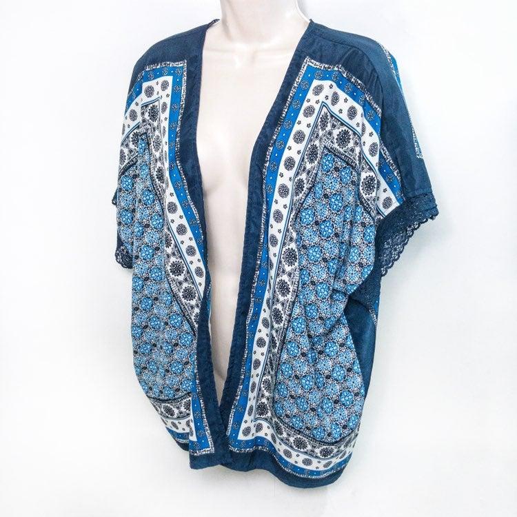 blu pepper Boho Blue Kimono Top Sz S
