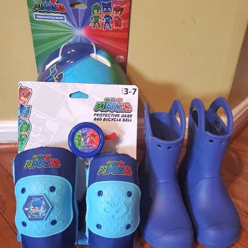 Pj Mask Bike Gear and Crocs Boots 10c