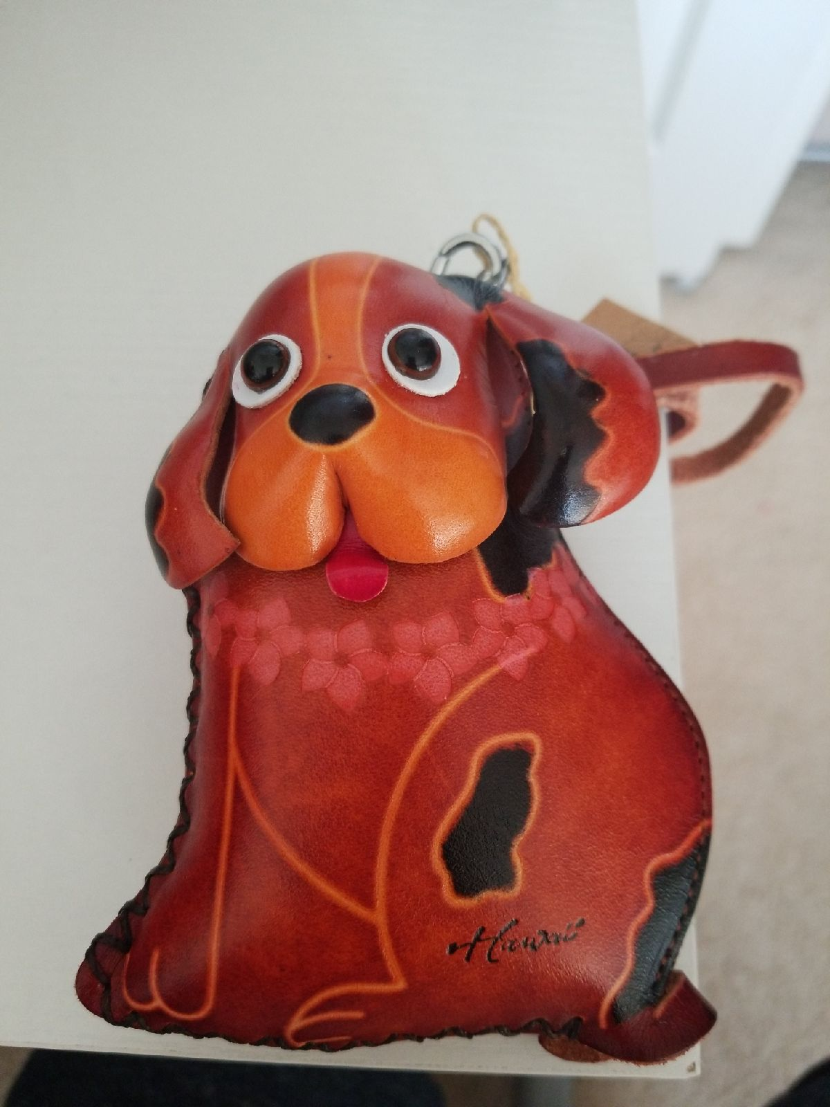 handmade leather dog pouch