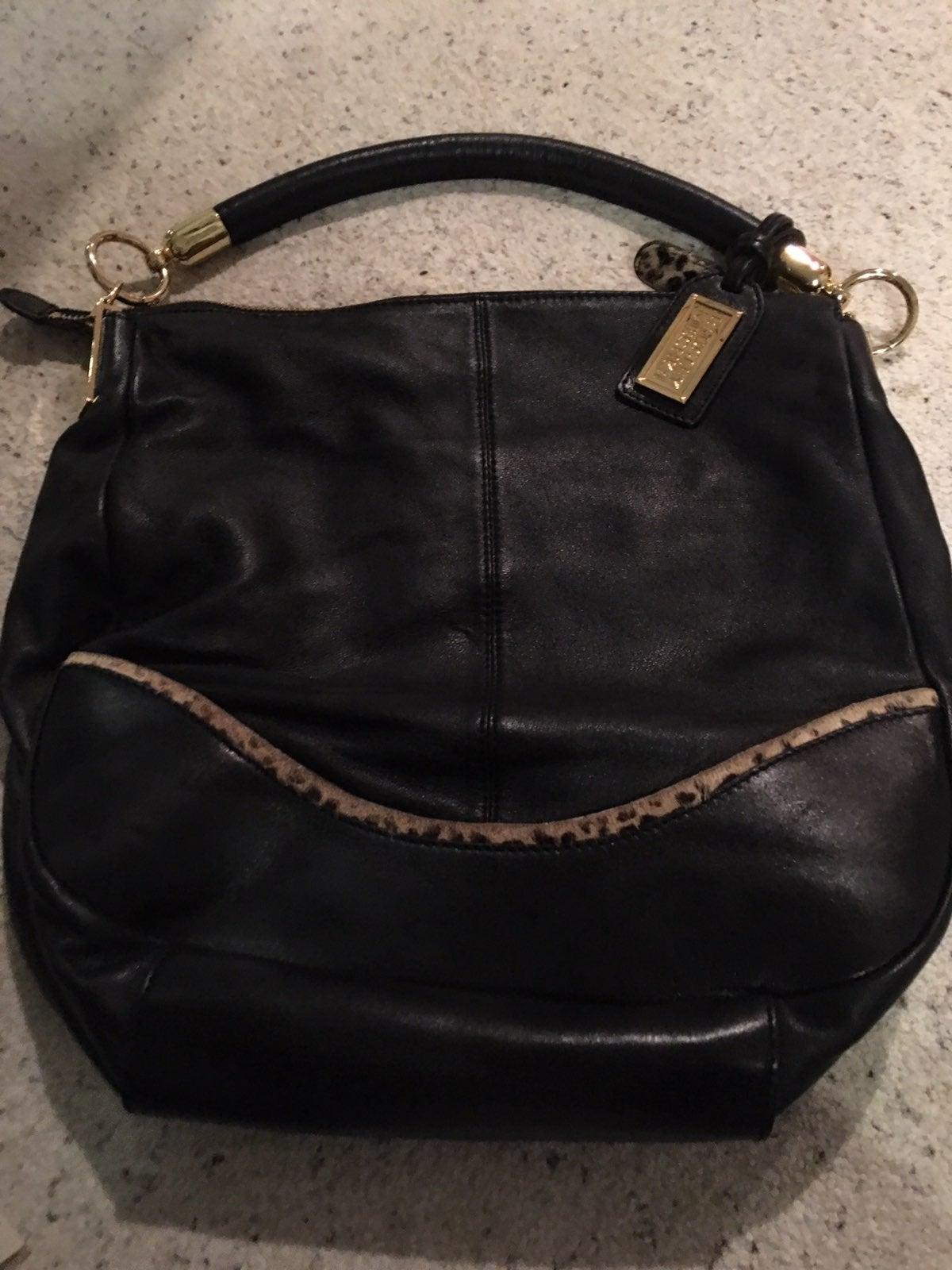 badgley mischka leather shoulder handbag