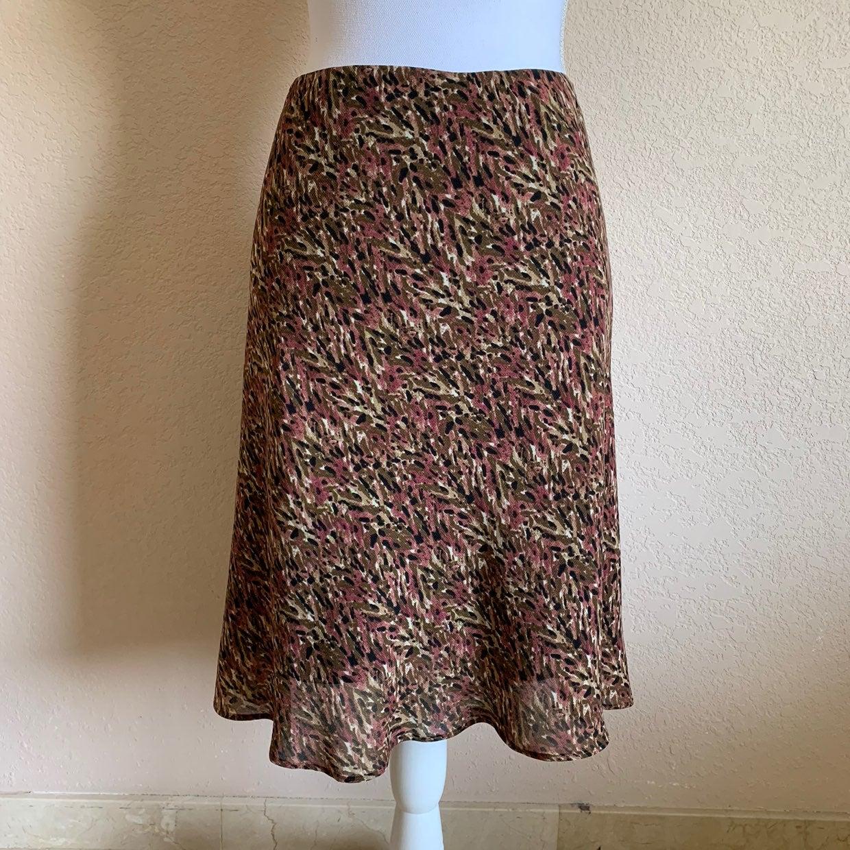 George pink brown pattern skater skirt