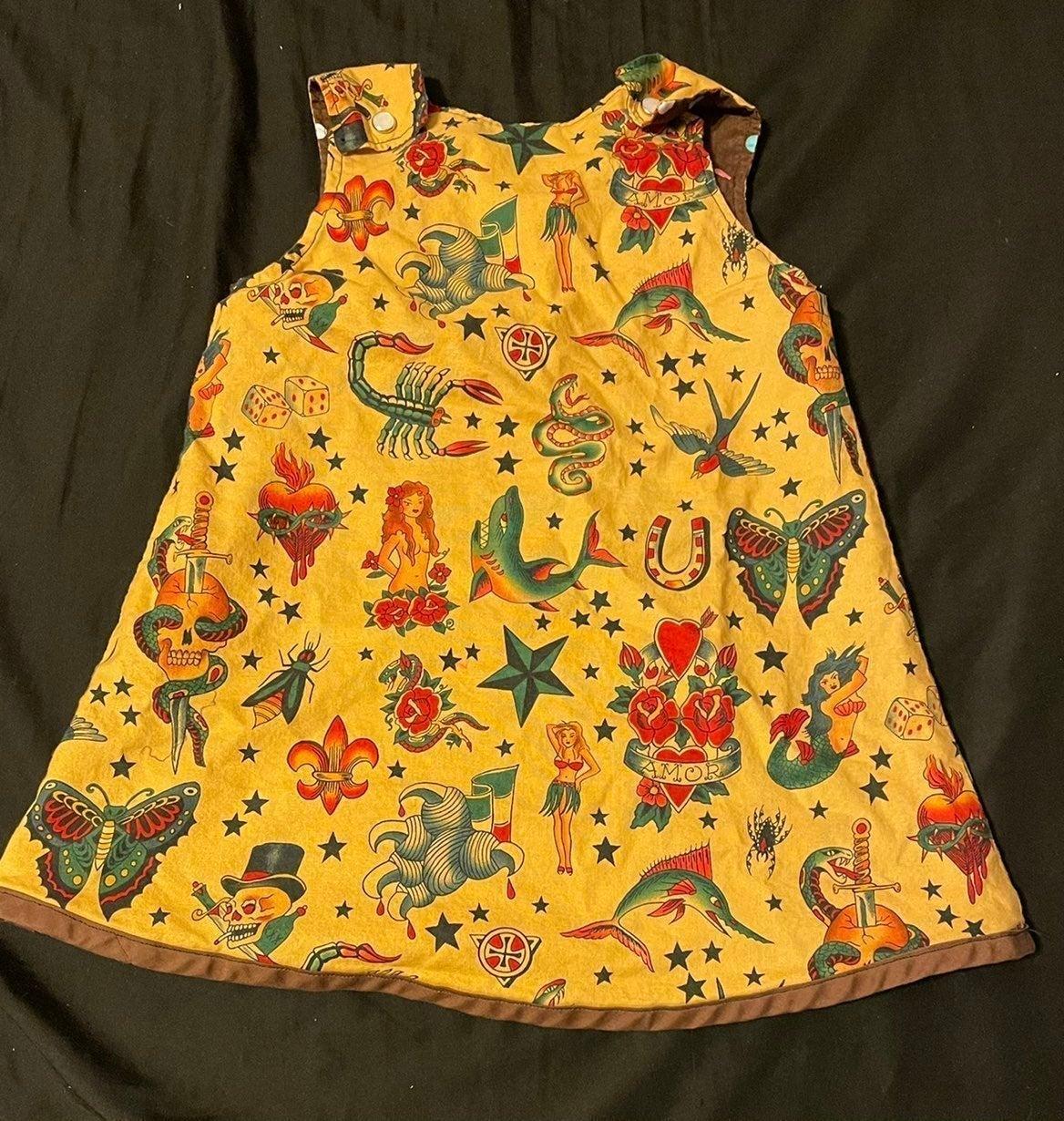 Toddler tattoo reversible dress polka do