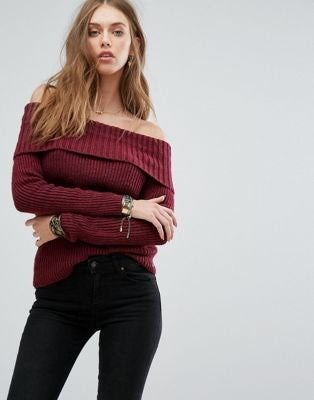 Off The Shoulder Red Sweater Hollister