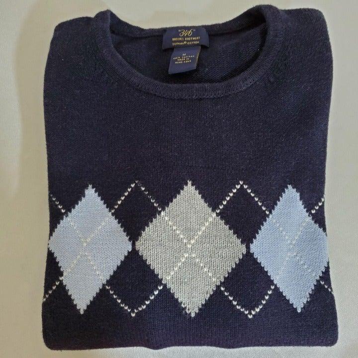 Brooks Bros Cotton Knit Navy Argyle Swea
