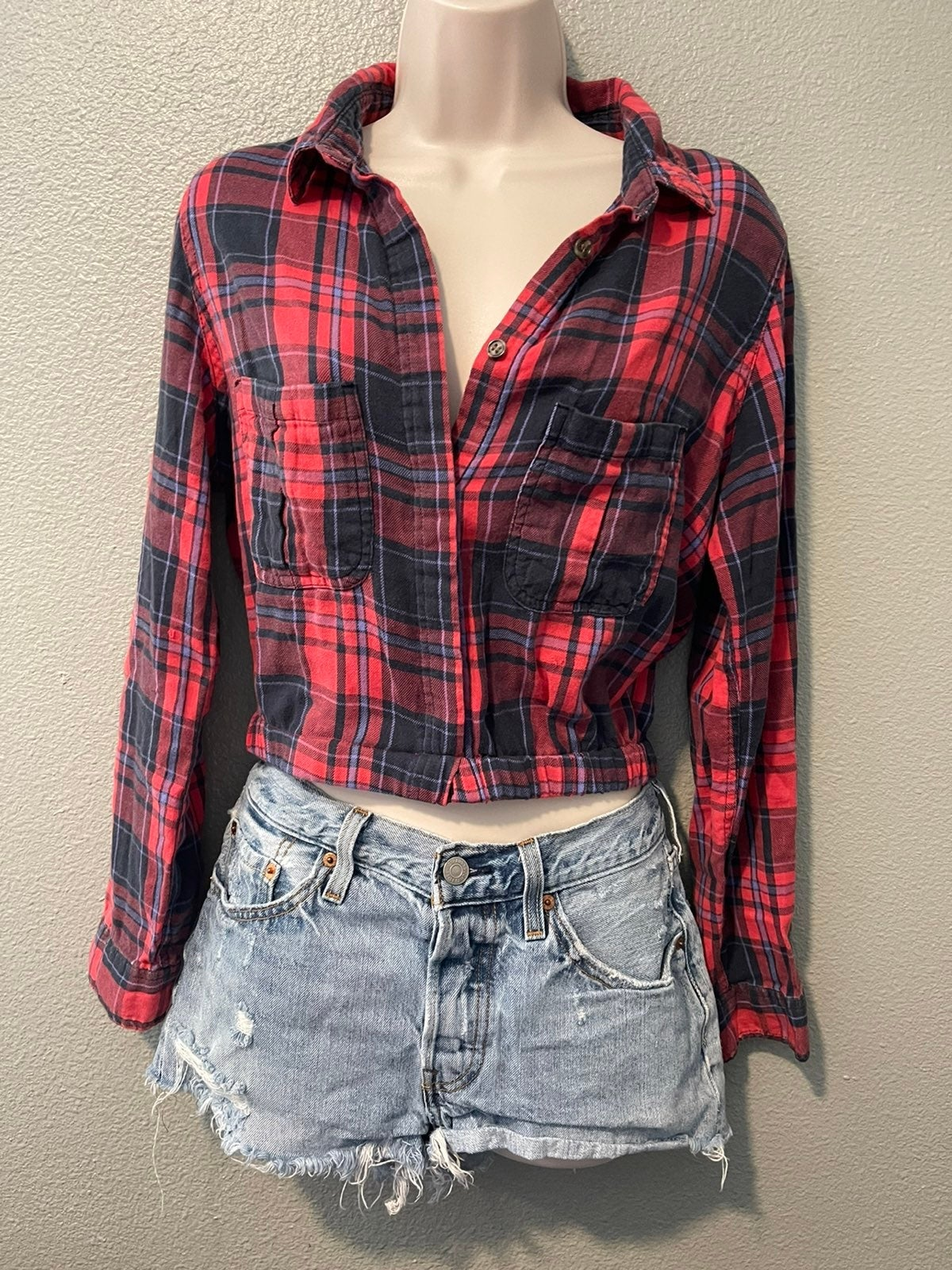 Red Cotton On Flannel Cropped