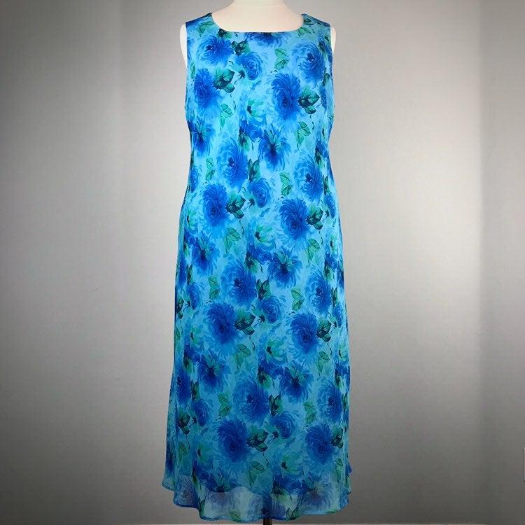 Studio 1 Blue Floral Sleeveless Dress