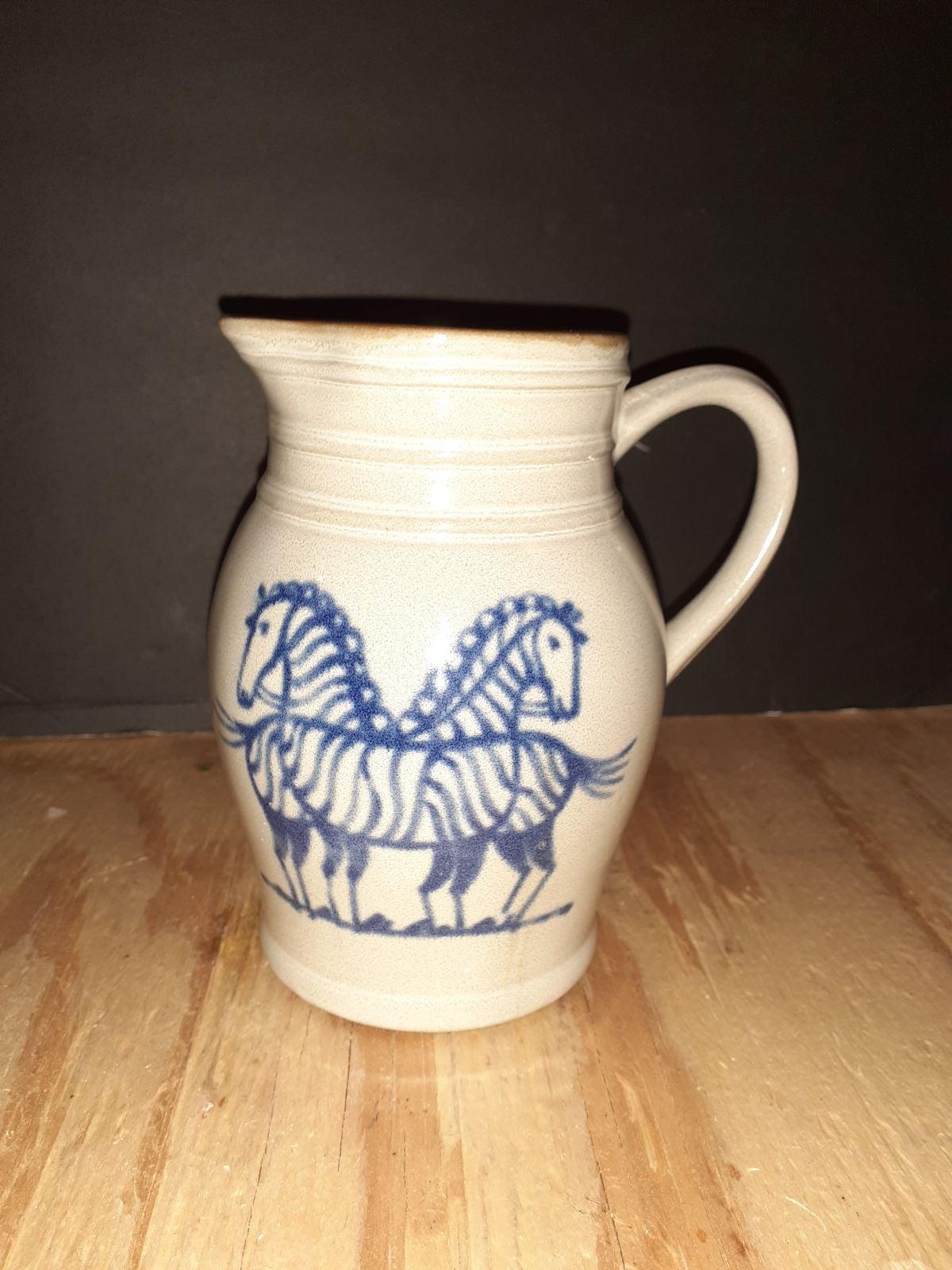 Zebra Stoneware Pottery Pitcher Made In
