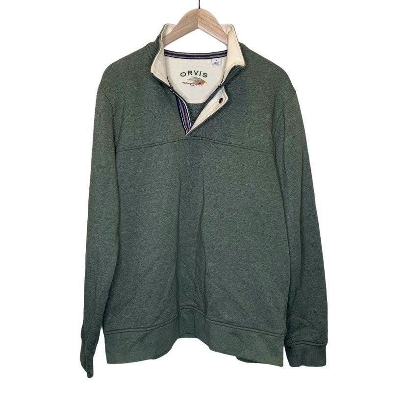 Orvis mens green pull over sweatshirt L
