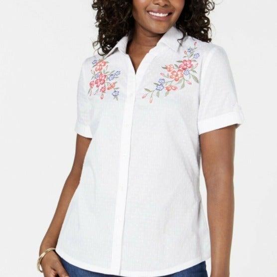 Karen Scott Women's Embroidered Shirt