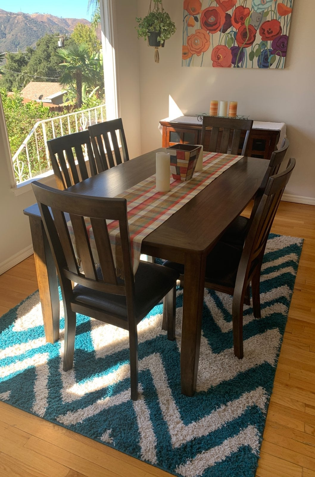 dining table with chairs and china cabin