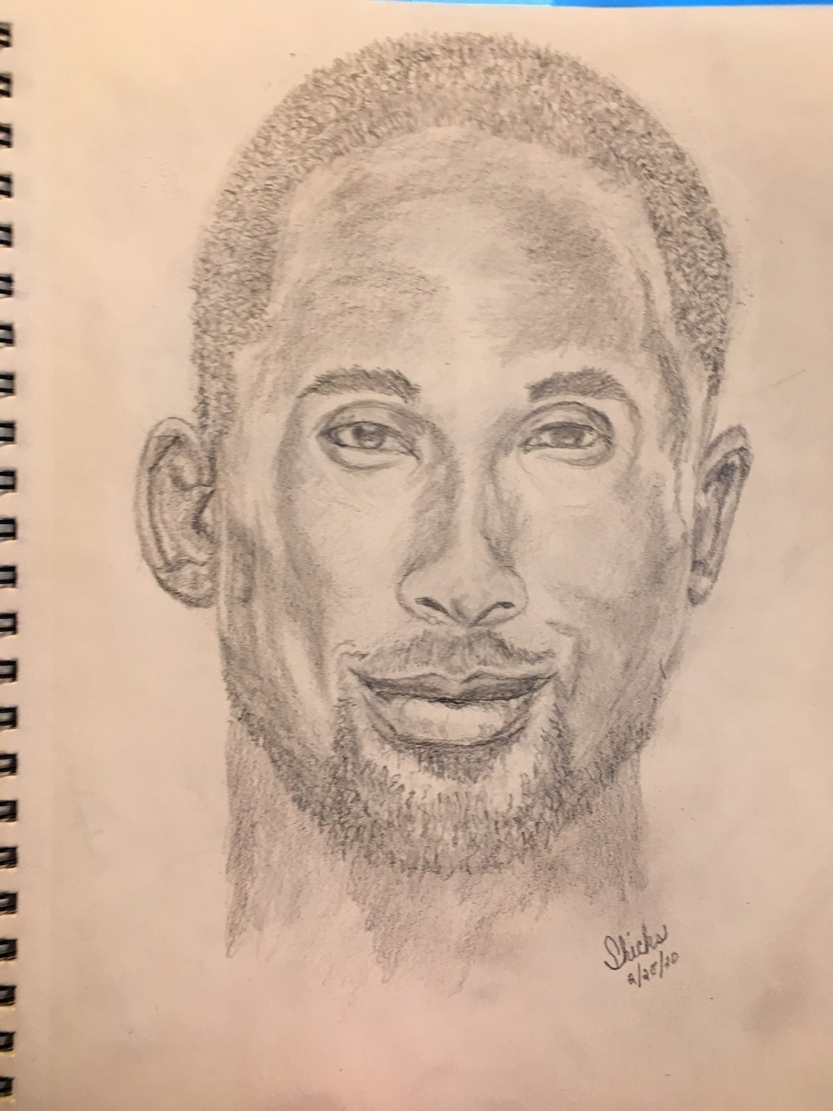 "9"" x 12"" pencil drawing of Kobe Bryant"