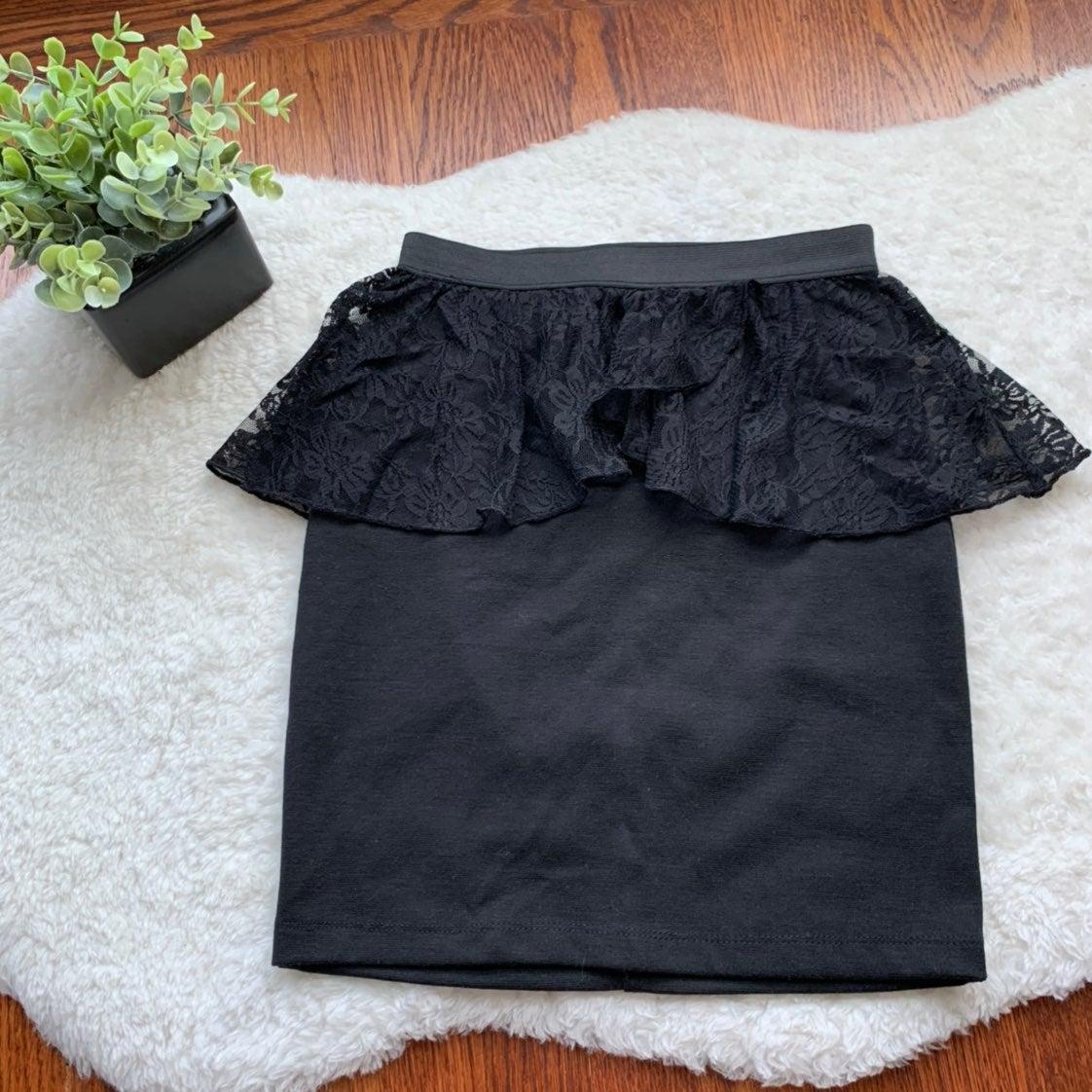 Black Lace Peplum Mini Pencil Skirt NWOT