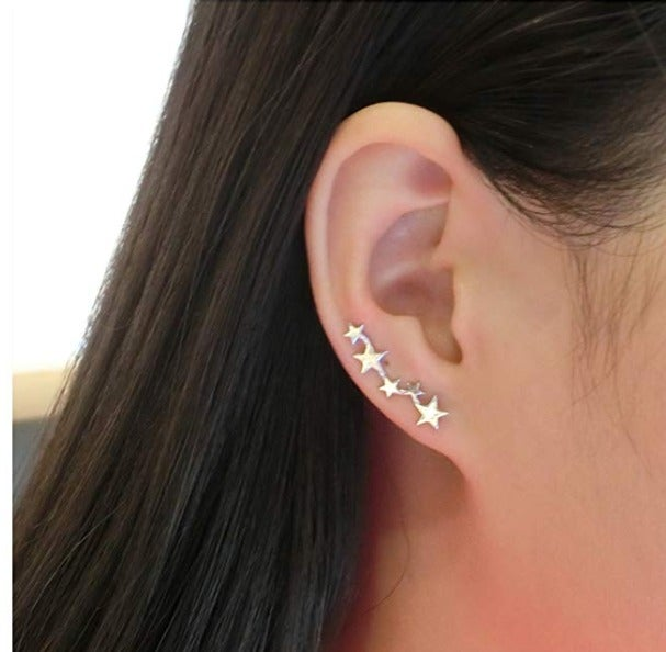 Stars Ear Climber Earrings (Silver)