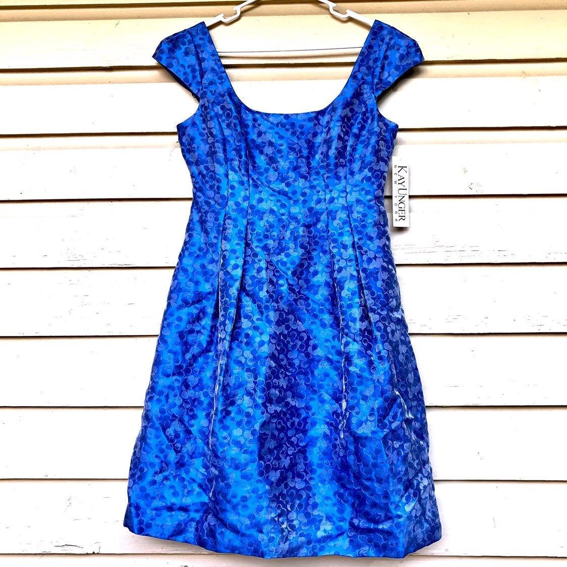 Kay Unger NWT Dress Cap Sleeve Royal