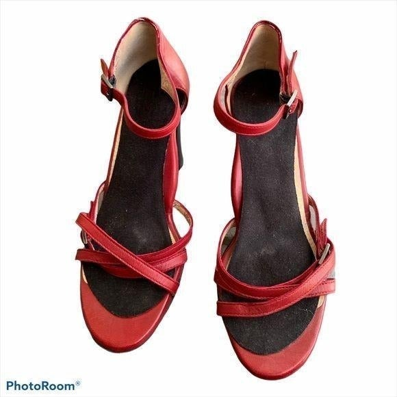 TARYN ROSE Ankle Strap Heel Red Italy 34