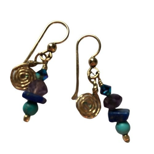 10k Yellow Gold Dangly Gemstone Earrings