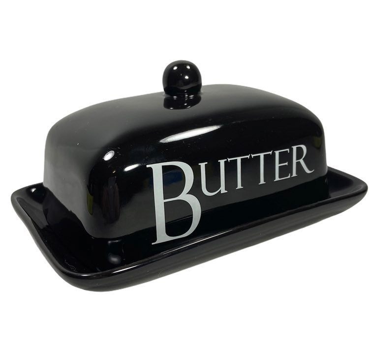 Old Pottery Co Black White Butter Dish