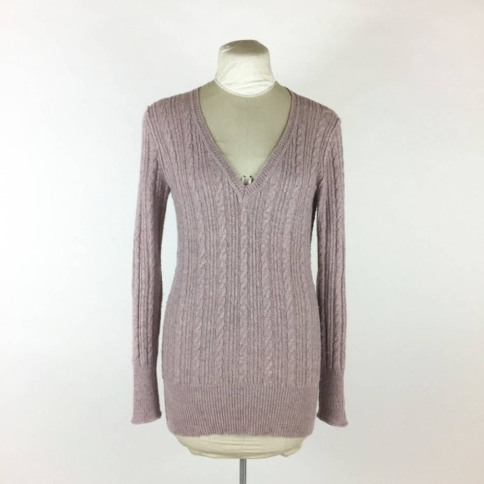 CAbi V-Neck Alpaca Cable Knit Sweater