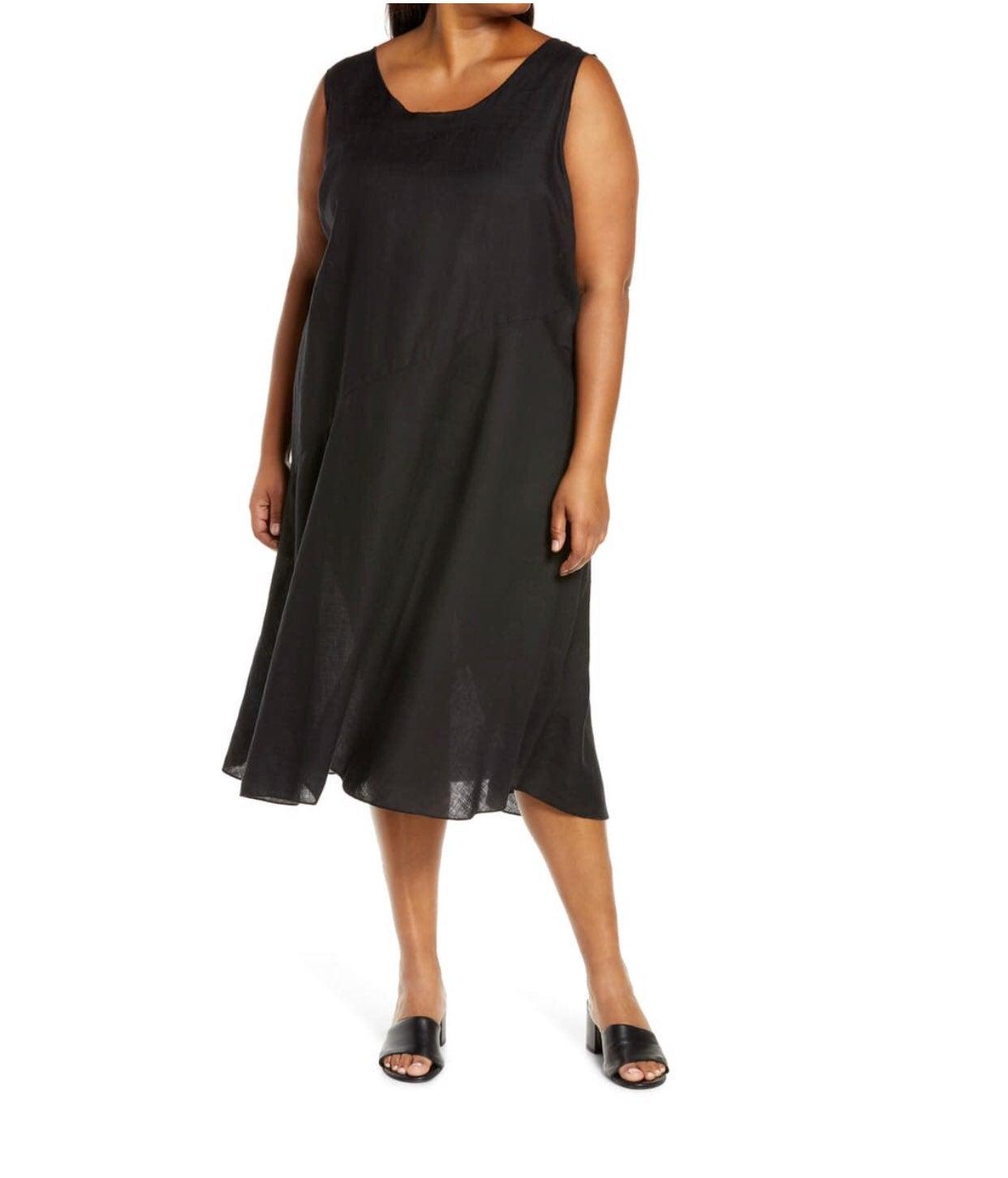 Eileen fisher linen midi dress sz M