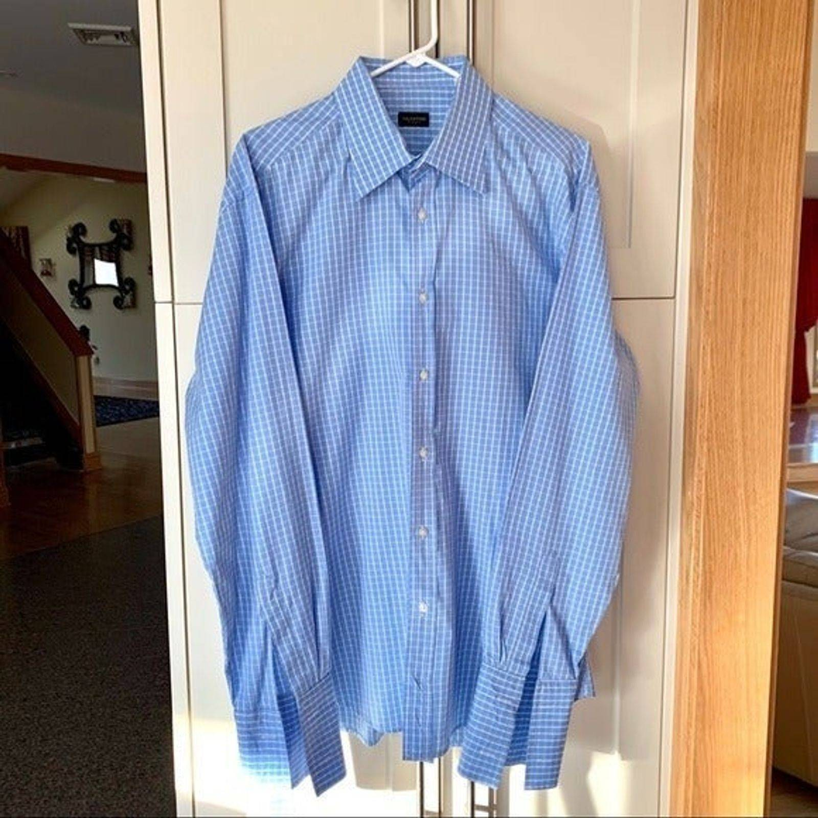 Valentino Roma Plaid French Cuff Shirt