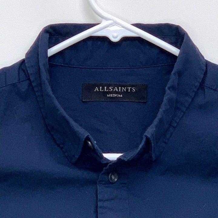 AllSaints Mens Designer Navy Blue Shirt