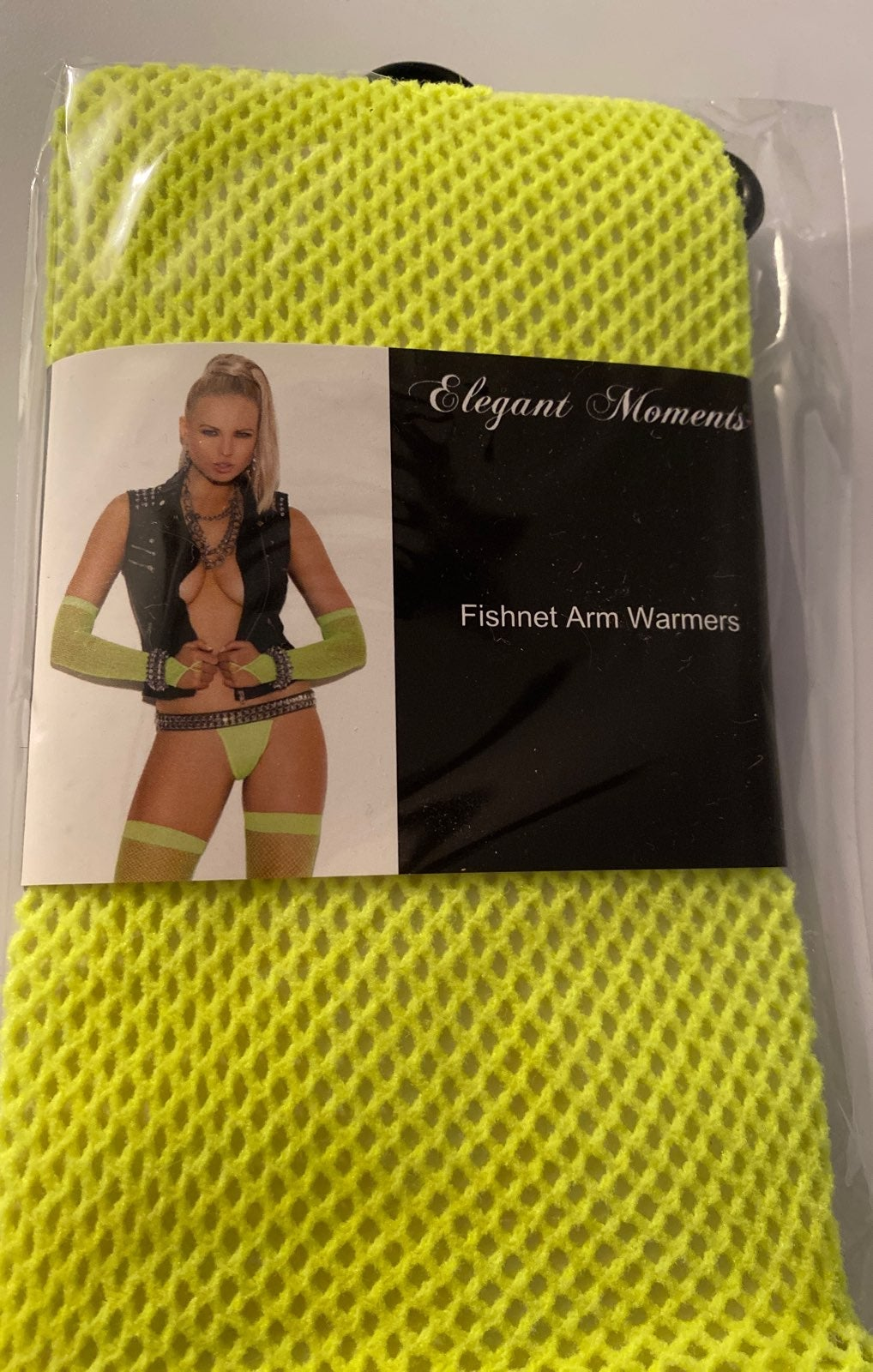 Neon green fishnet Arm Warmers Gloves