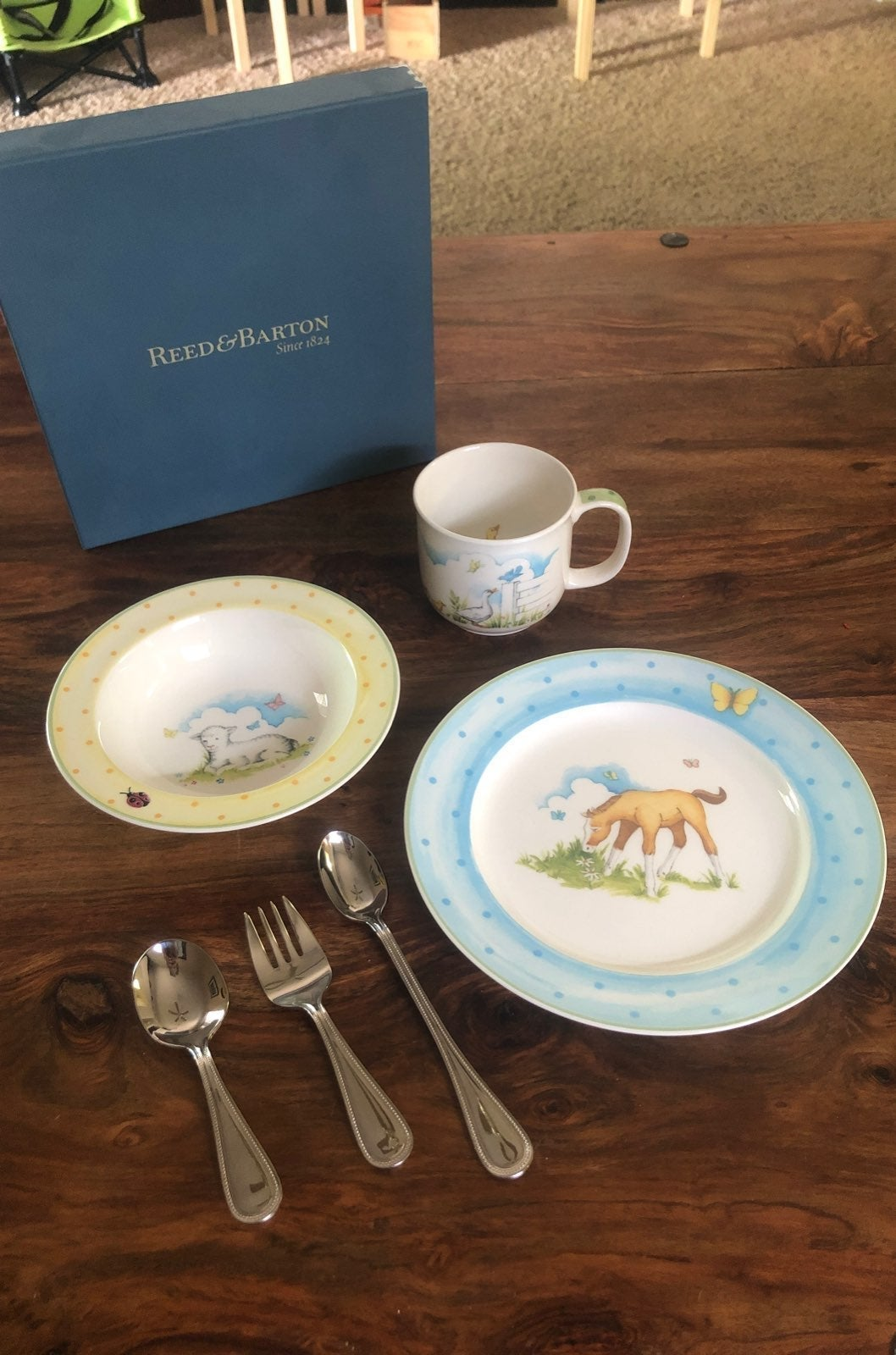 new reed and barton baby china and silve