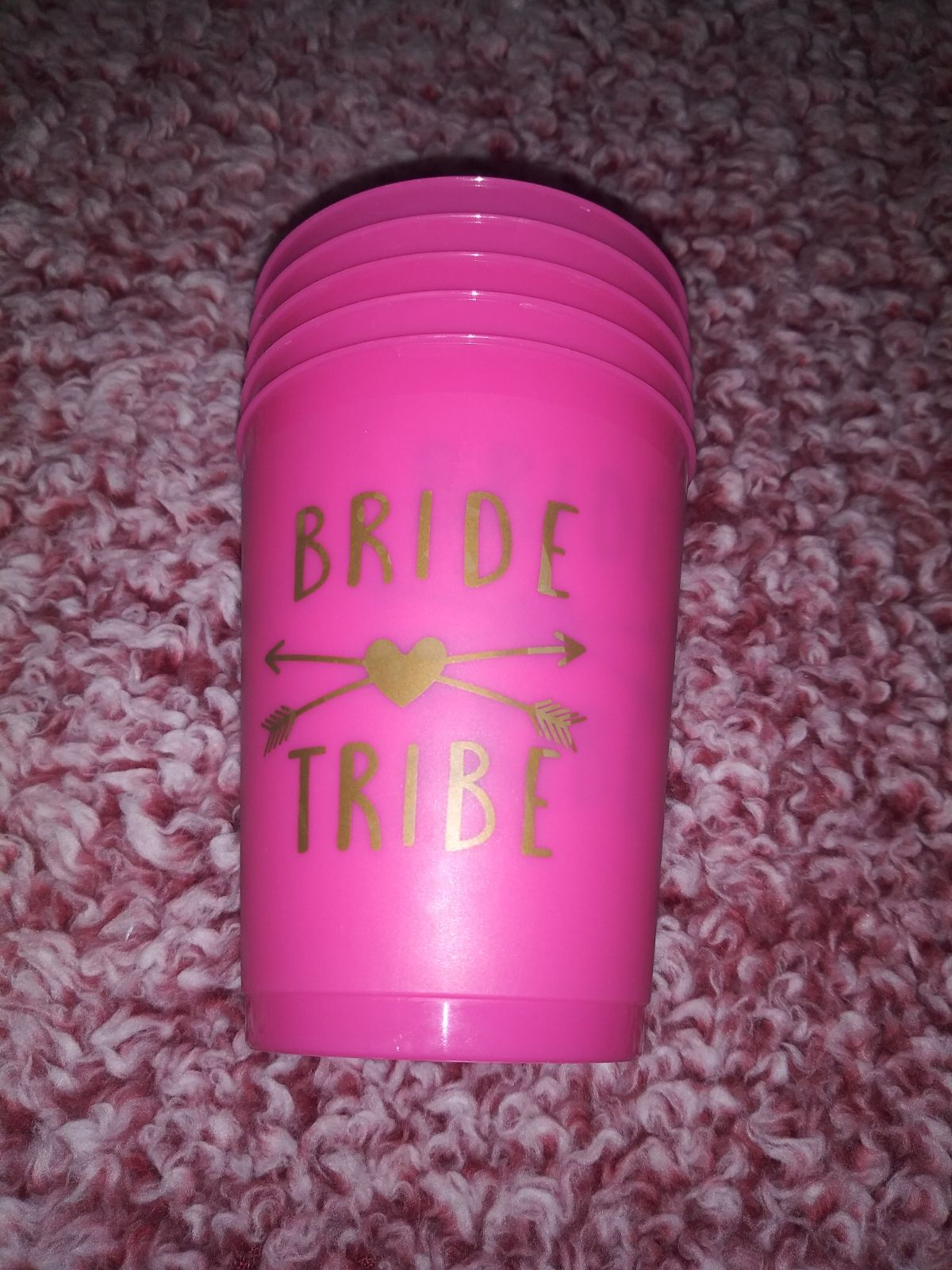 Bride Tribe 5 Pack Plastic Cups, Hot Pin
