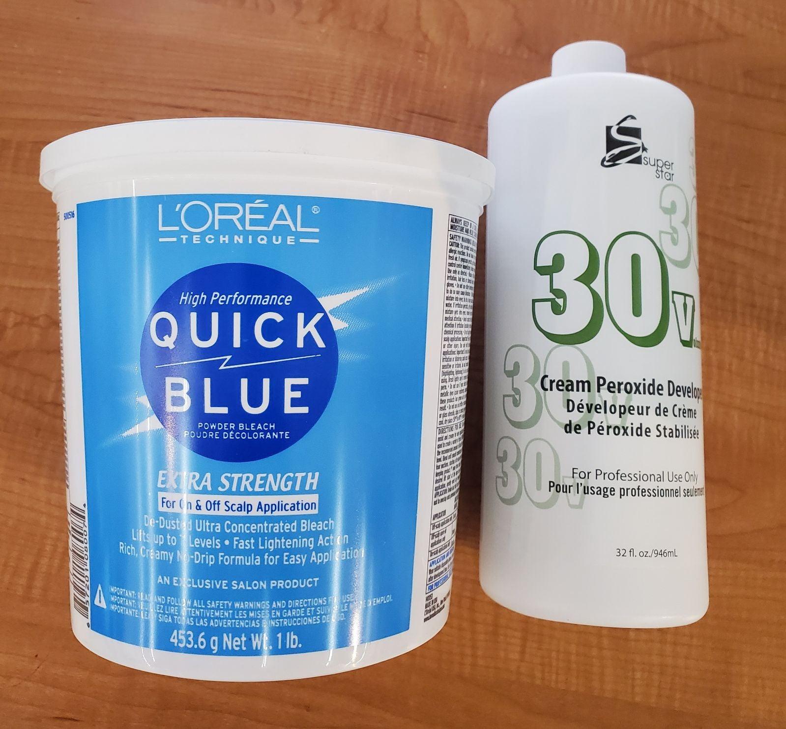 loreal quick blue bleach powder and deve