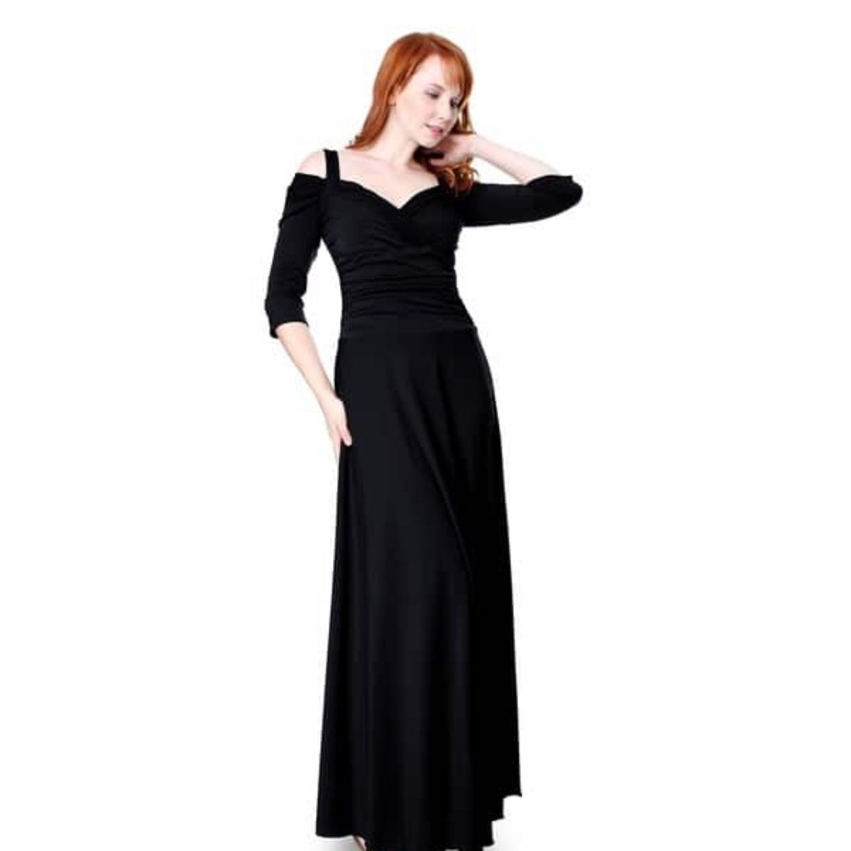 Evanese Formal Black Evening Gown L NEW
