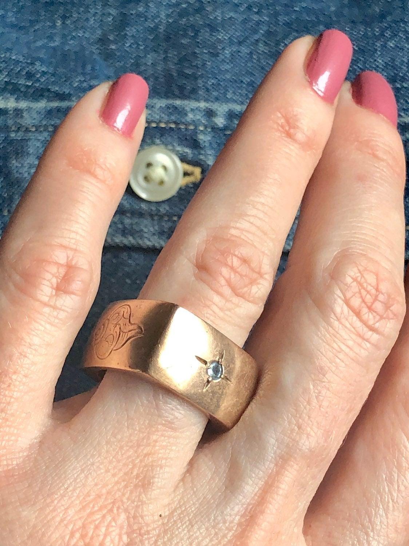 Artisan Gemstone Square Copper Ring