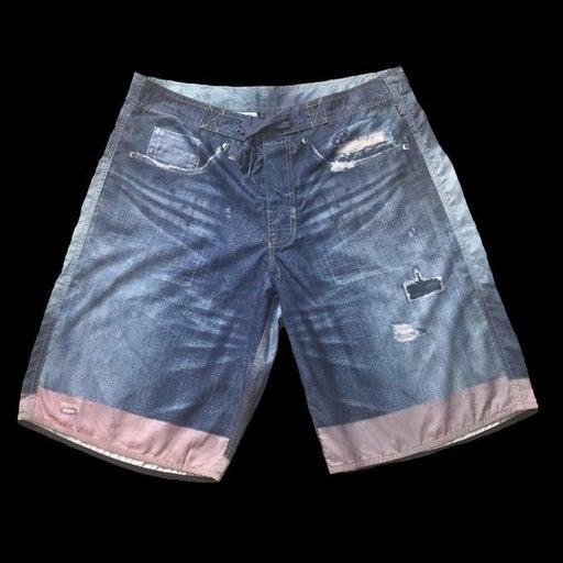 Crooks & Castle Denim Photo Printed Beach Shorts