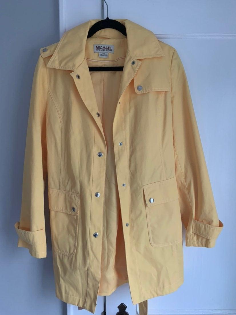 Michael Kors Belted Yellow Rain Jacket