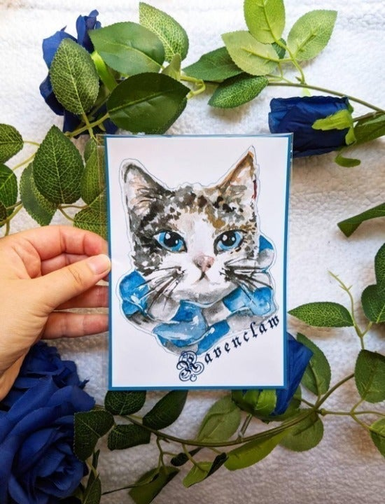 Ravenclaw Harry Potter Cat Art Print
