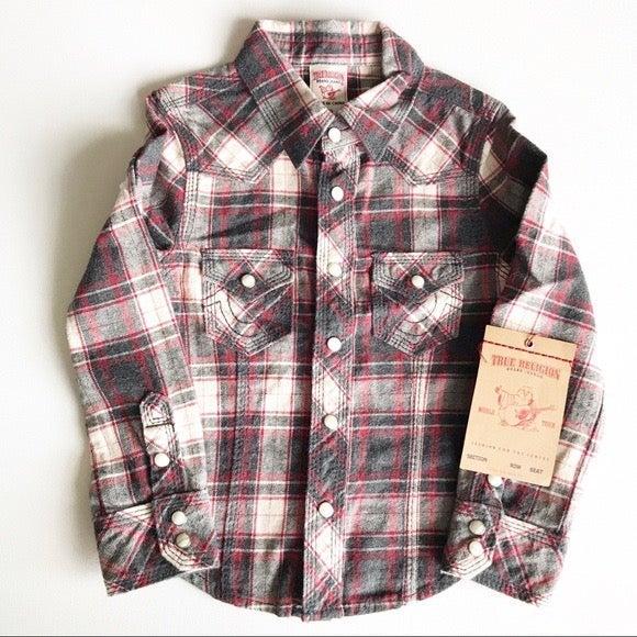 True Religion Button Down Flannel Shirt