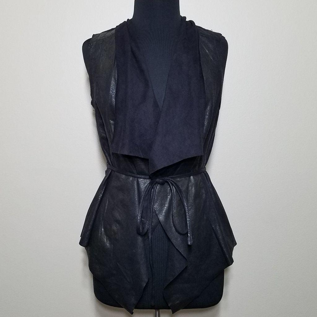 Black Faux Suede Waterfall Vest Wrap Sma