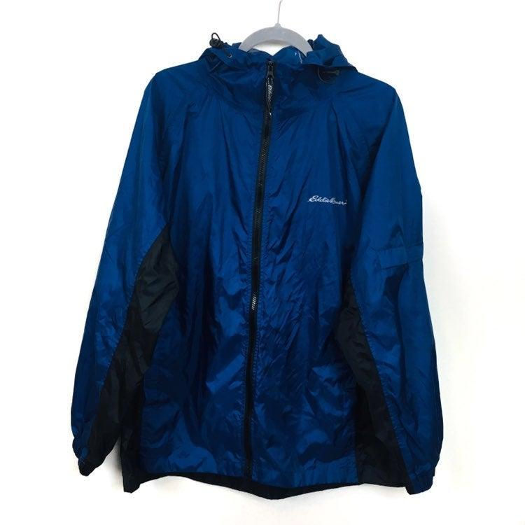 Eddie Bauer Black Navy Pack Rain Jacket