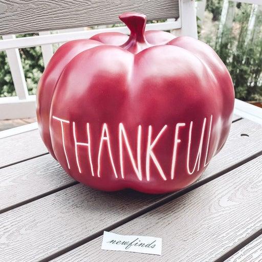 Rae Dunn Thankful Pumpkin Burgundy