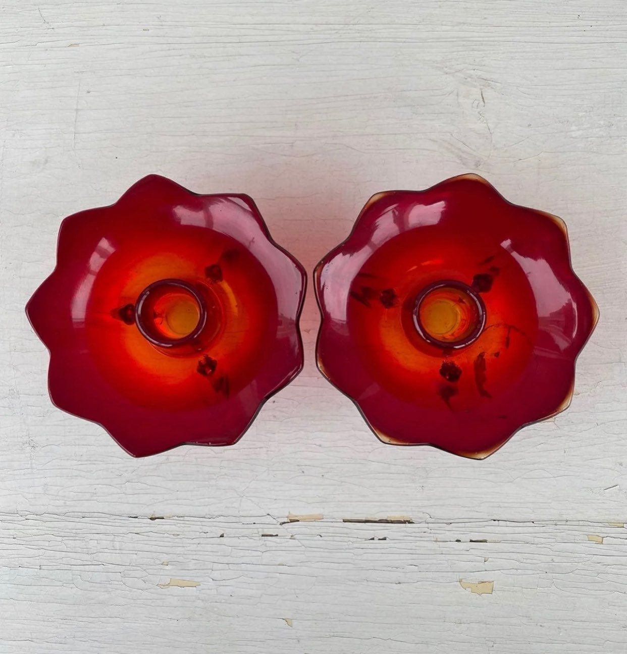 Fenton ruby red lotus candle holders
