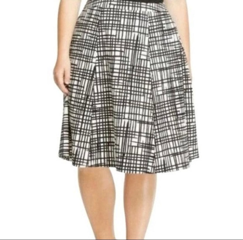 AVA & VIV plus size grid midi skirt | 22