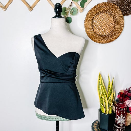Foxiedox Black One Shoulder Blouse