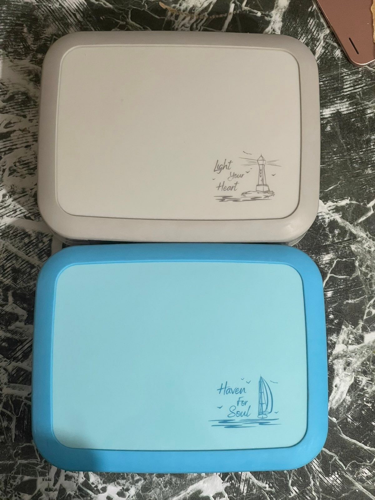 Kids lunch box(2 box)Grey and blue color