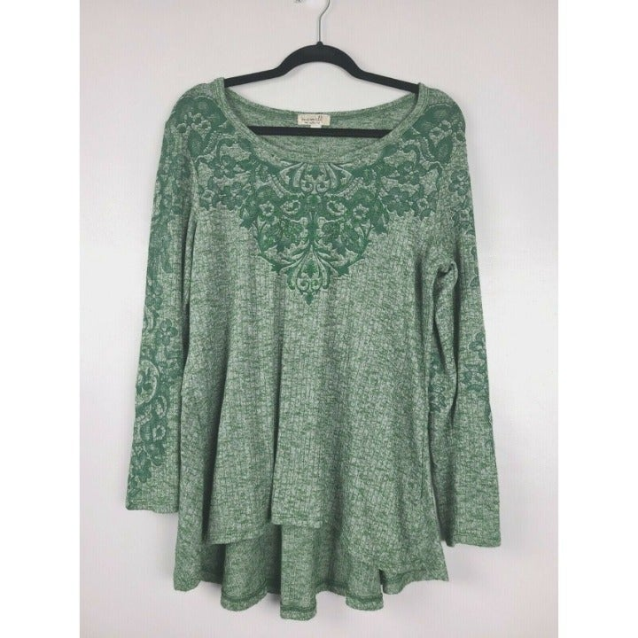 One World Women Tunic Top Green Floral L