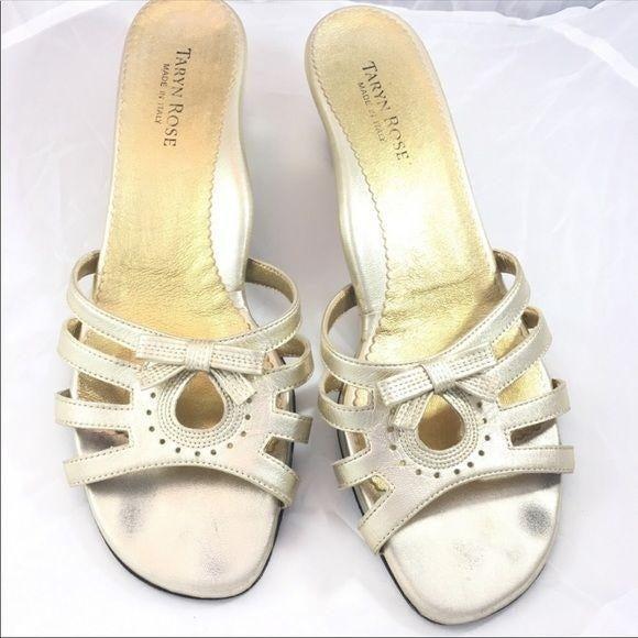 Taryn Rose vintage leather sandals gold