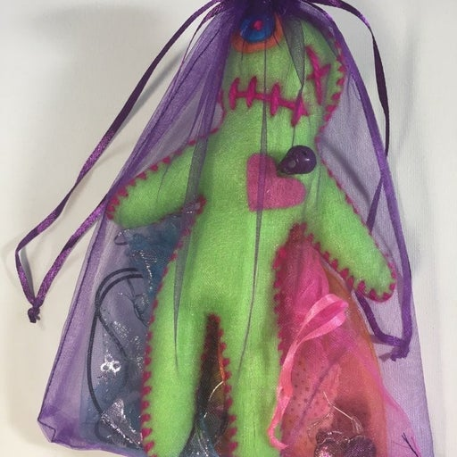 Handmade felt & yarn Juju Baby Doll gift bag.
