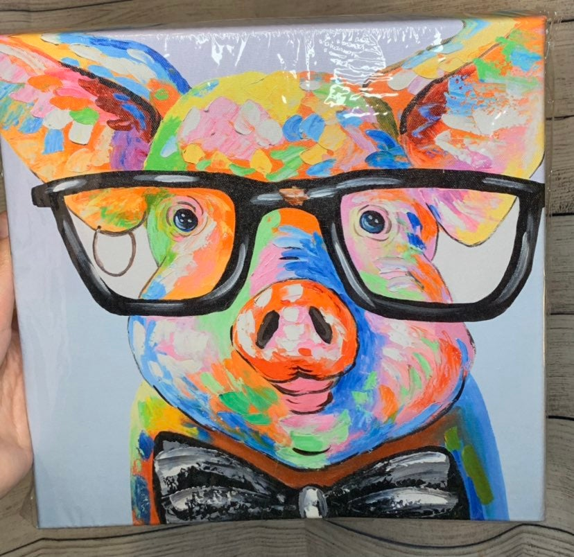 Colorful Pig with Glasses Canvas