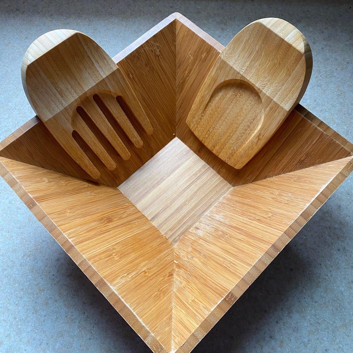 Pampered Chef Bamboo Bowl & Tongs