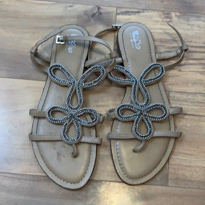 Beige Beaded Sandals